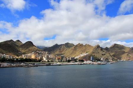 santa cruz de tenerife: View at mountain range from a cruise ship - Santa Cruz de Tenerife, Canary Islands Stock Photo