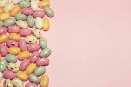 jelly beans: Assorted multicolored jelly beans with copyspace