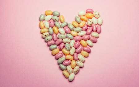 jelly beans: Heart shaped assorted multicolored jelly beans