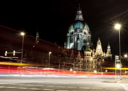 rathaus: New City Hall of Hannover by night. Stock Photo