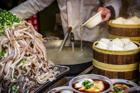 Local specialties at streedfood market - Beijing, China.
