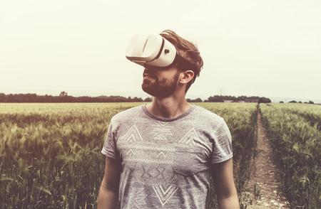 Man using Virtual Reality Glasses.