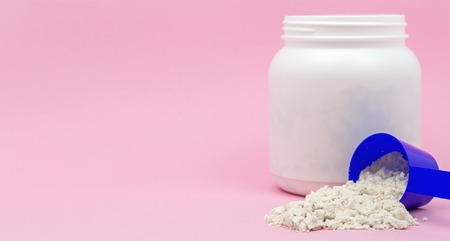 Protein powder - concept for sport supplement Imagens