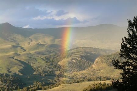Lookout with rainbow in Yellowstone National Park