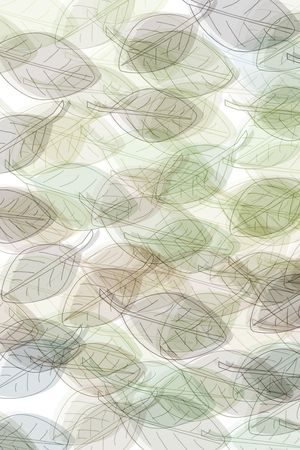 rythm: leaves in green and brown pastelcolours on white background