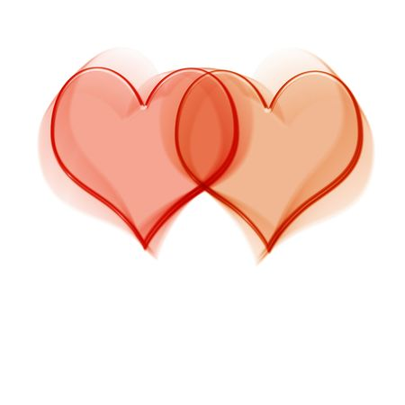 adore: two intertwined transparent red hearts on white background