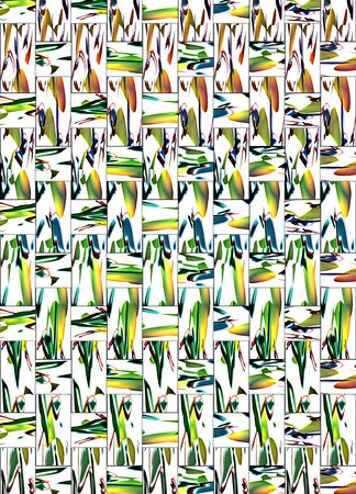 twined: background of twined rectangle and square tiles  in white with strong abstract red, green and yellow colour spots