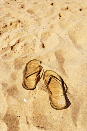 pair of golden slippers left in the sand with shells  Stock Photo