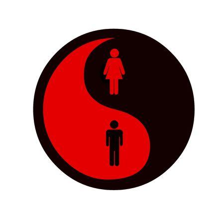 equidad: Ying y yang s�mbolo de la igualdad de g�nero  Foto de archivo