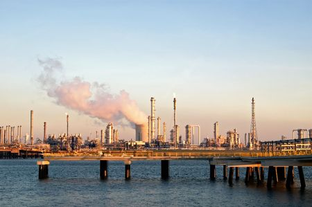 chemical industries and harbour by evening light