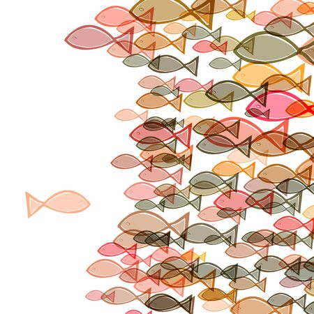 one fish swimming in the opposite direction of a troupe of fishes Stock Photo