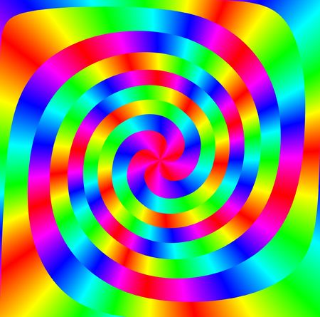 spiral shapes intertwined in many bright colours