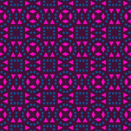 Seamless texture of pink and blue shapes on black background photo