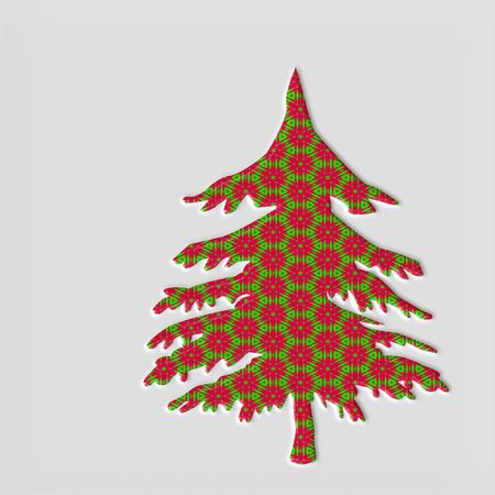 filling in: 3 dimensional pine tree with red and green filling in holiday style Stock Photo