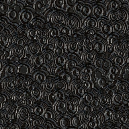 black leather: shiny retro curls imprinted in black background Stock Photo
