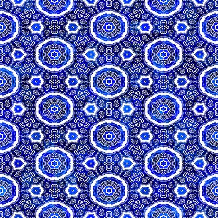 seamless texture of eastern style shapes in blue, white and black photo