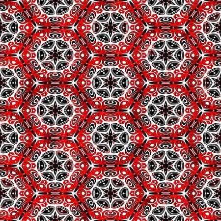 seamless texture of eastern style shapes in red, white and black photo