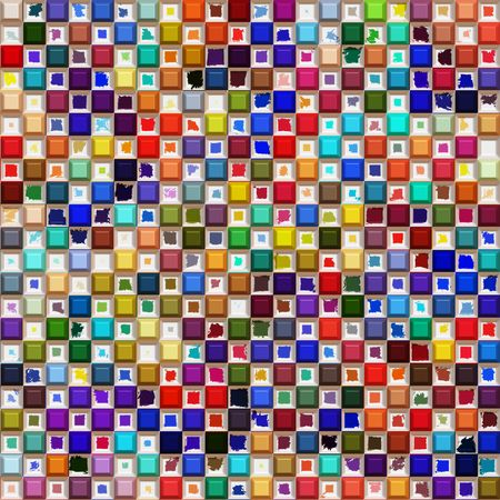seamless texture of many bright colored spots and blocks