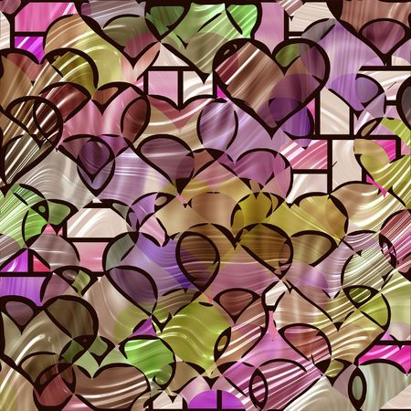 antique fashion: texture of many hearts in stained glass Stock Photo