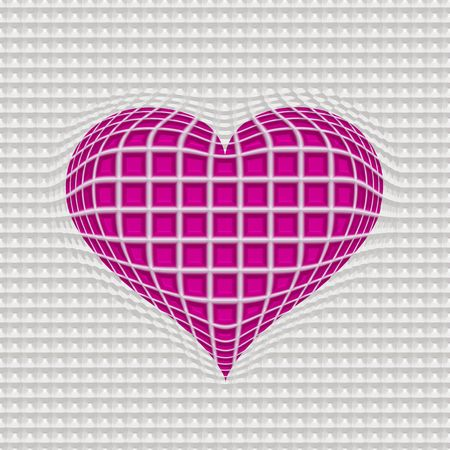 detained: globase 3d heart in white wire pattern