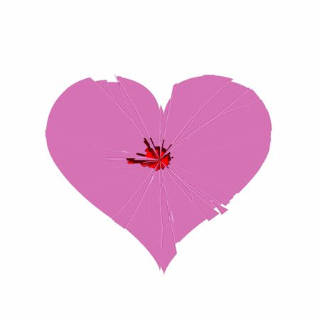 fragments: pink heart with break lines like a mirror