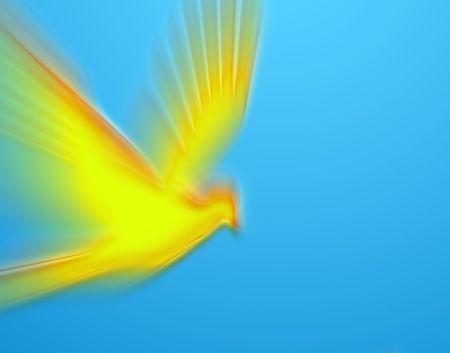 geloof hoop liefde: bewegende heldergeel duif op blauwe achtergrond Stockfoto
