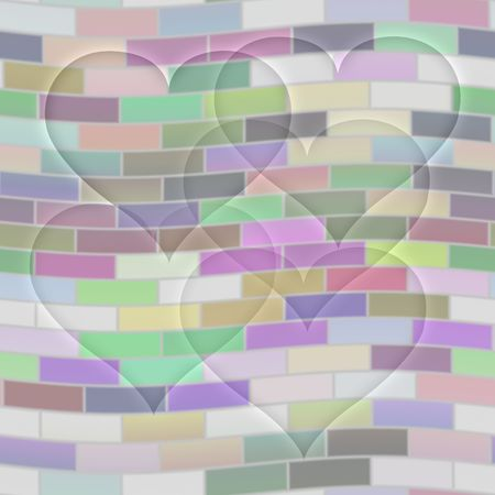 seamless texture of transparent hearts on pastel wall photo