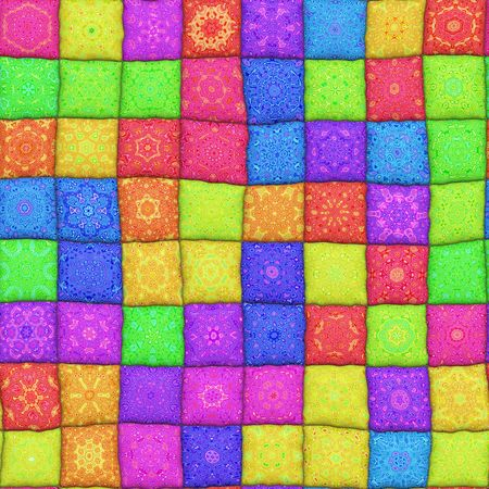 bright 3d texture of many bright patchwork rags Stock Photo