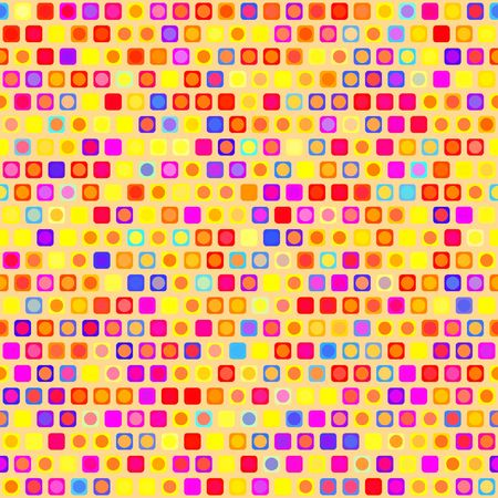 seamless texture of square and round shapes in warm colors photo