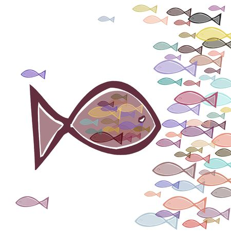 gulp: Illustration of a big fat fish eating small fishes Stock Photo