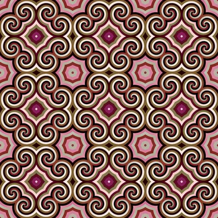 seamless texture of stars and rounded shapes in old pink colors Stock Photo