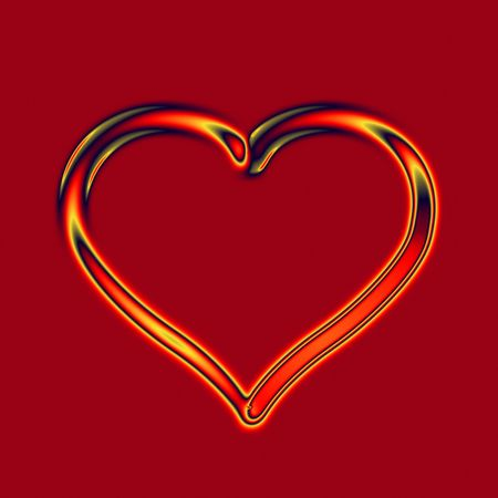 transparent glass fire heart on deep red background photo