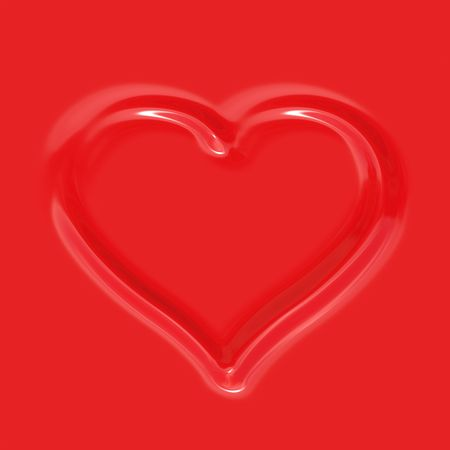 imprinted: imprinted heart shape in red artificial plastic background  Stock Photo