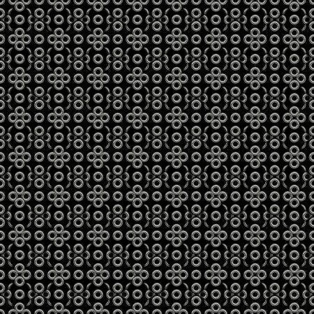 seamless texture of many silver rings om black background