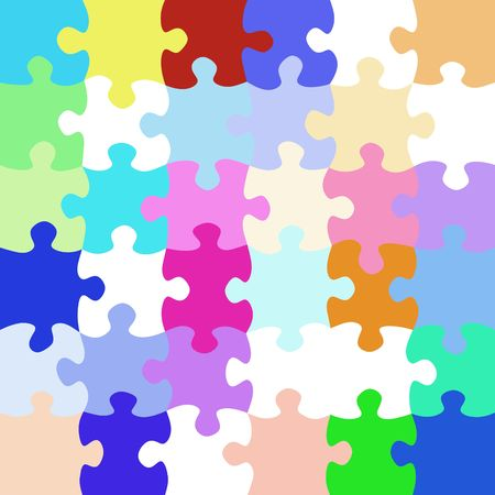 art piece: texture of colorful bright jigsaw puzzle pieces