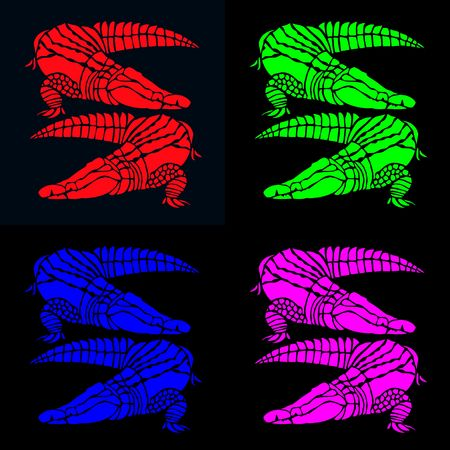 vibrant pairs of crocodiles in red, green, blue and pink on contrasting black photo