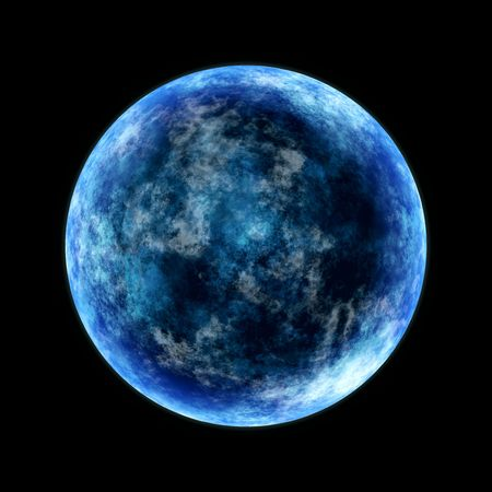 round planet in cold blue lighted from the side