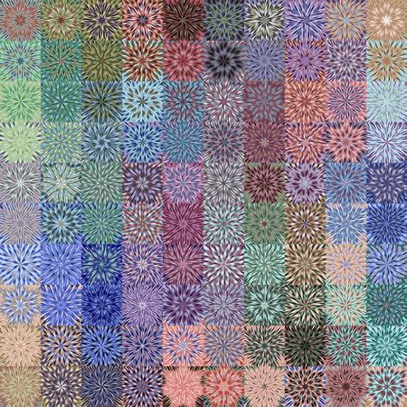 patchwork pattern: texture of bright square rags with flower shape explosions Stock Photo