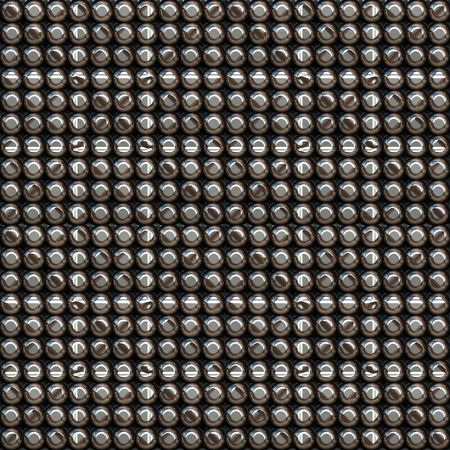 nickel panel: seamless texture of many glossy metal pins in rows