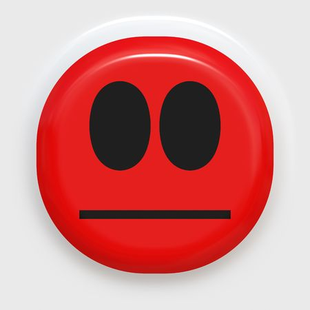 red smiley face looking angry or ashamed