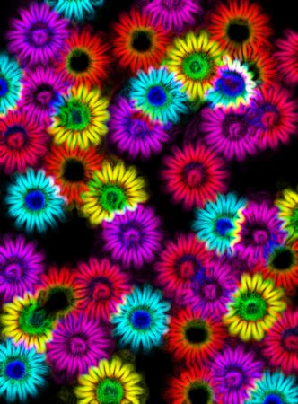 abstracted impressions of flower sahpes in neon colors on black photo