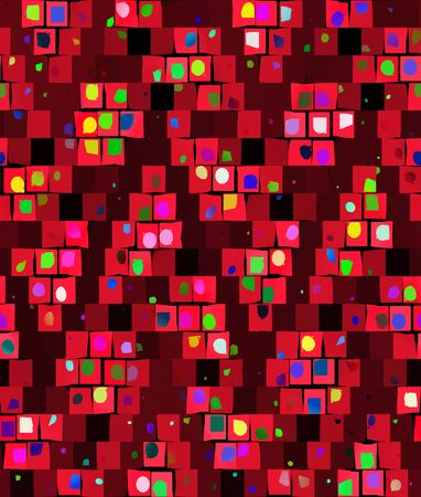 abstracted: seamless texture of abstracted confetti on red  blocks