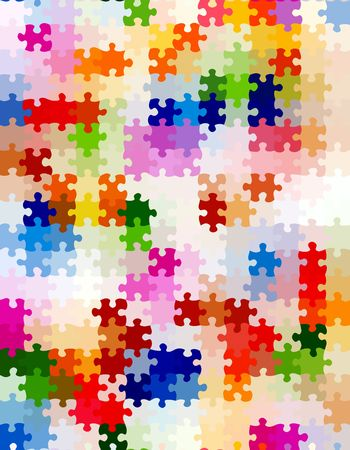 seamless texture of colorful bright jigsaw puzzle pieces