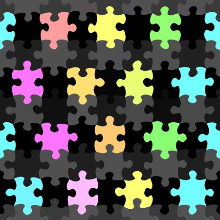 seamless texture of colorful and black jigsaw puzzle pieces photo