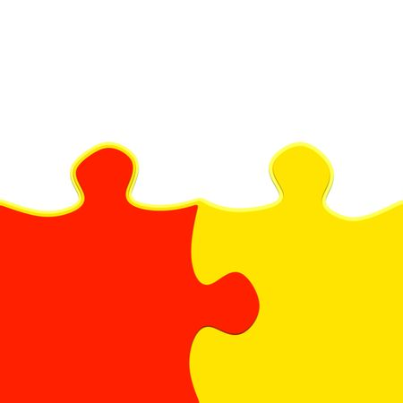 yellow and red 3d puzzle pieces intertwined symbolic for a close relationship photo