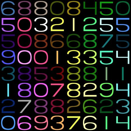seamless texture of random numbers in bright colors photo