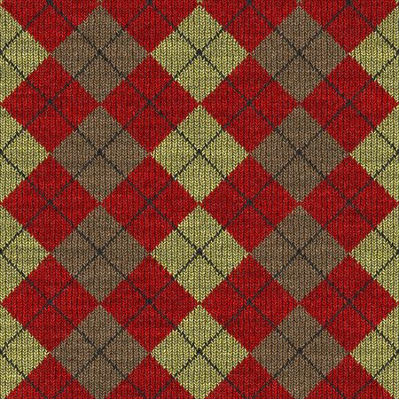 knitwear: seamless texture of knitted wool gingham squares in red, yellow and brown