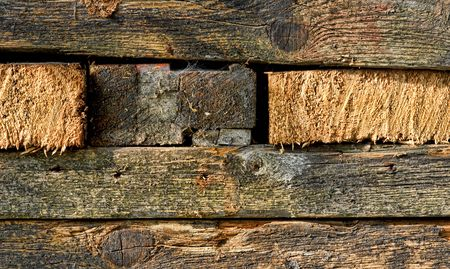 texture of dirty old wood pieces in rectangles photo