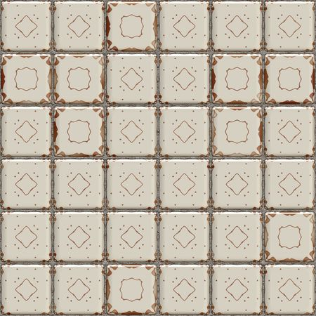old kitchen: seamless 3d texture of old grunge ceramic tiles