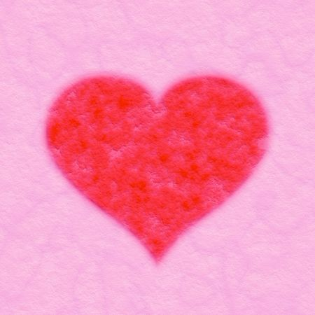 red fabric heart on pink textile background  Stock Photo